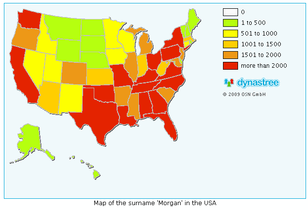 map of Morgan surname in the US