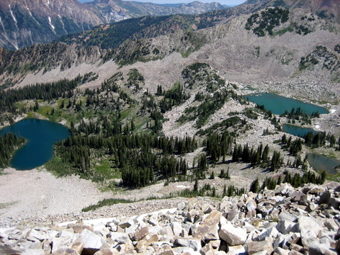 the upper and lower lakes from the ridge