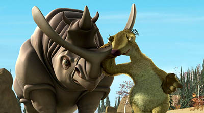 "fictitious rhinoceros from the movie ""Ice Age"""