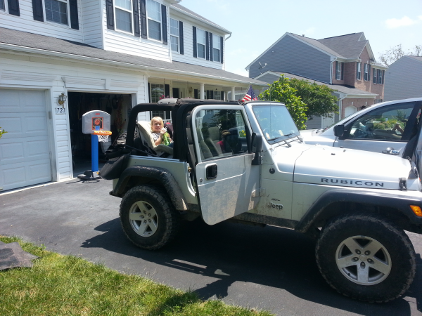 Toren getting ready for a ride in the Jeep