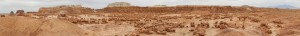 And a panorama of the awesomeness that is Goblin Valley (click for larger size)