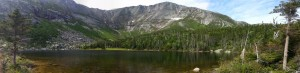 Chimney Pond, where you have to choose your ascent route to the top of Katahdin (click for full size)