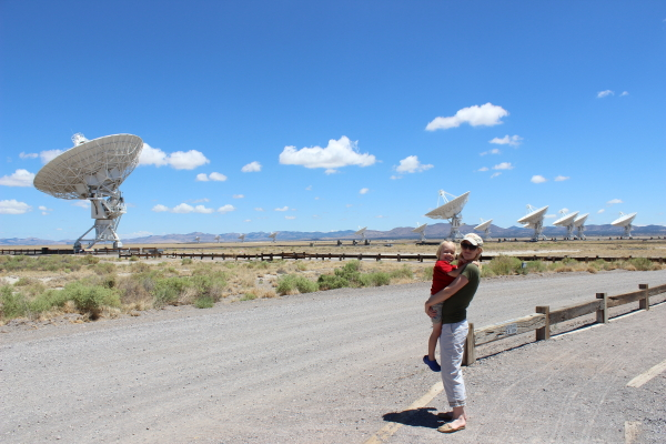Debi and Toren in front of some of the antennas.