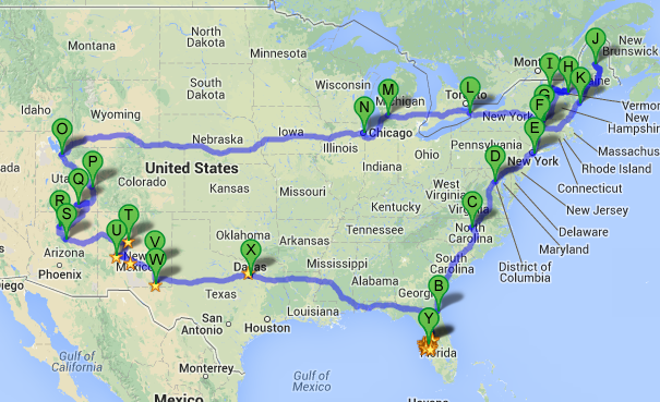 Rough outline of the entire trip.