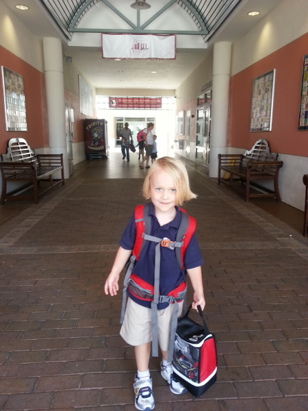 Here he is sporting his new backpack and lunch bag at his new school