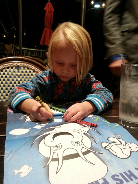 Toren coloring while we waited for our food.