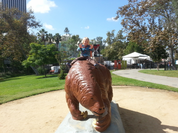 Toren riding a giant ground sloth