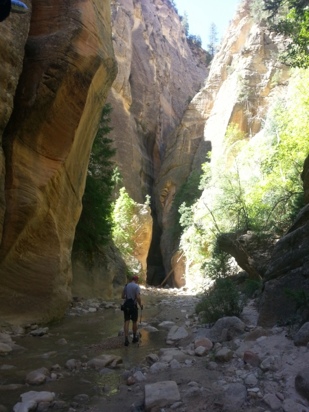 Tom hiking toward one of the slot canyons