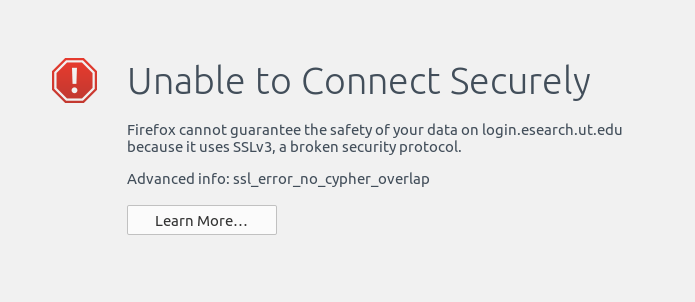 "bypassing the ""ssl_error_no_cypher_overlap"" error in Firefox 34"
