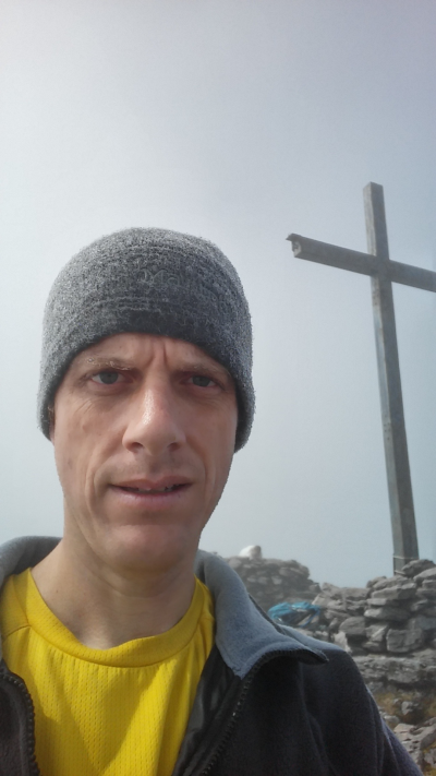 On the summit of Carrauntoohil.