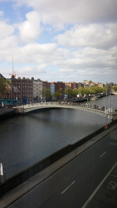 View of the River Liffey from my apartment in Dublin.