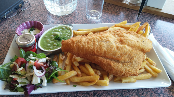 Fish and chips at the Killarney Golf and Fishing Club.