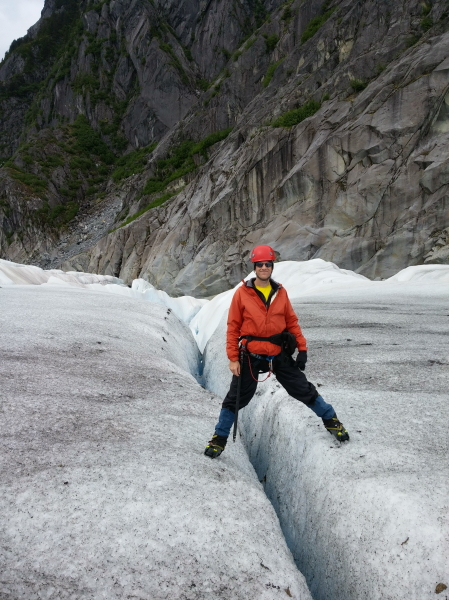 me standing over a crevasse
