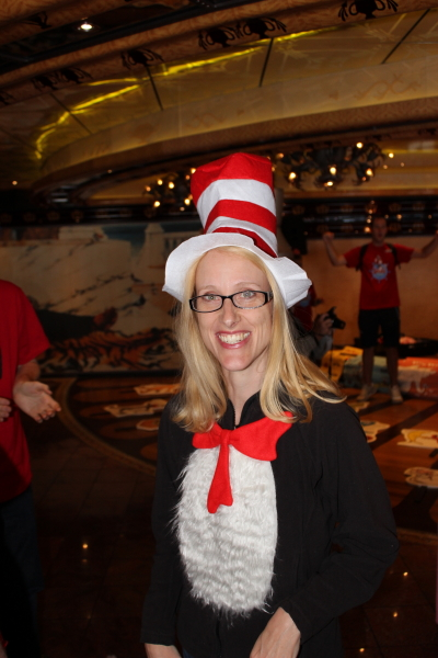 An impromptu costume refusal led to Debi being the Cat in the Hat.