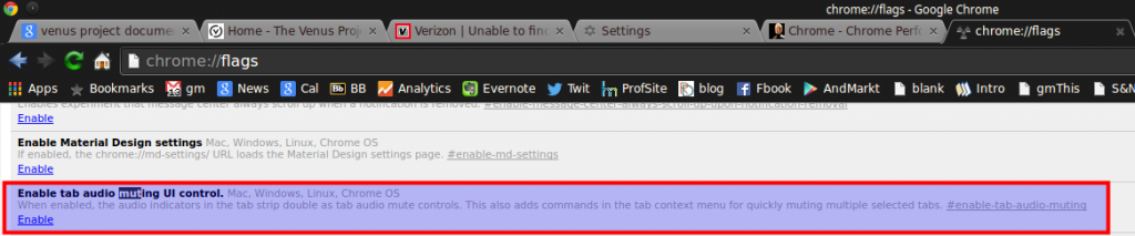 enabling muting of audio in tabs in Google Chrome