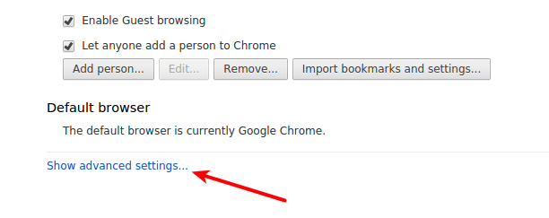 Chrome advanced settings