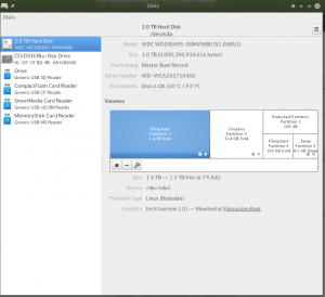 GUI window for Disks.