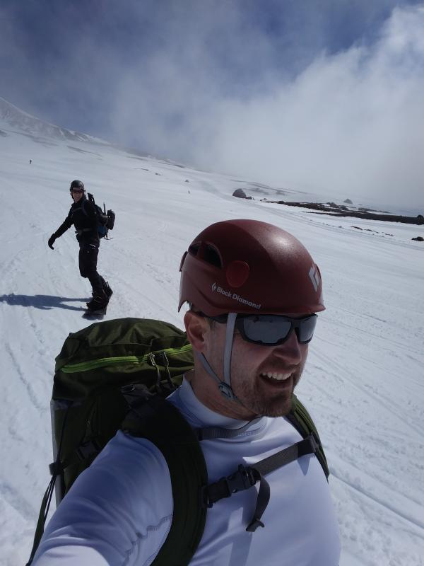snowboarding off Mt. Hood
