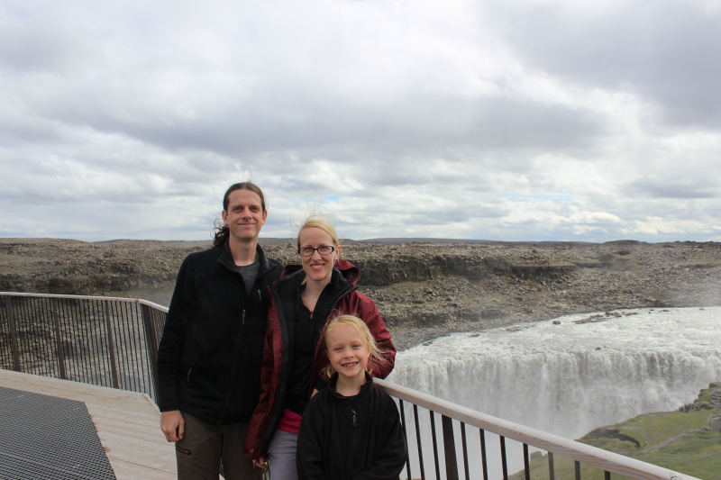 Ryan, Debi, and Toren at Dettifoss