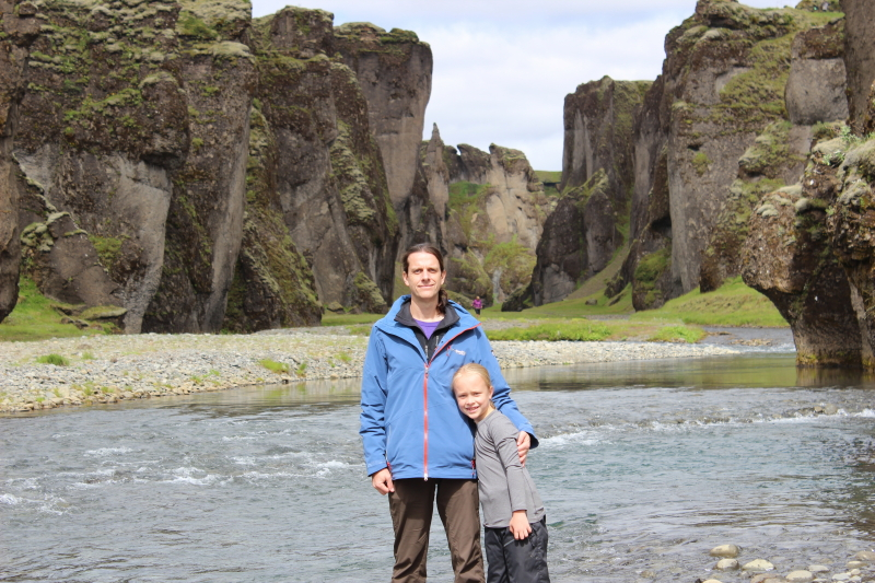 Ryan and Toren in front of Fjadrargljufur Canyon