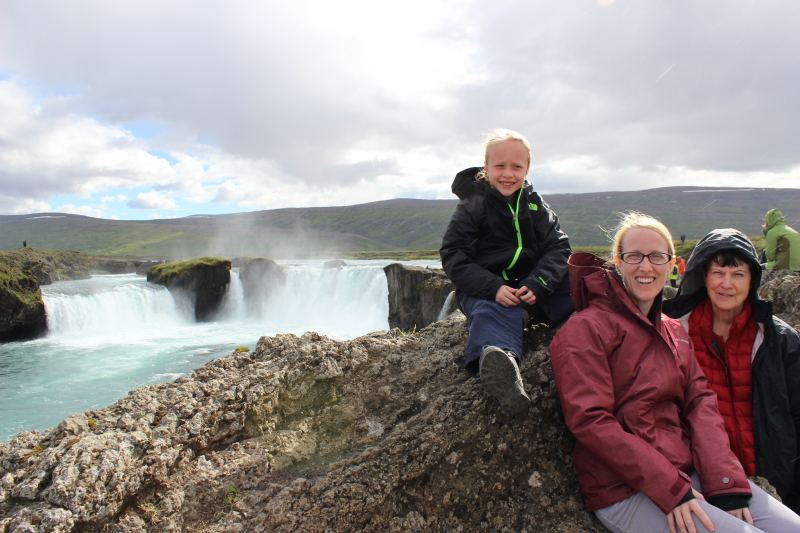 Toren, Debi, and Rosemary at Godafoss