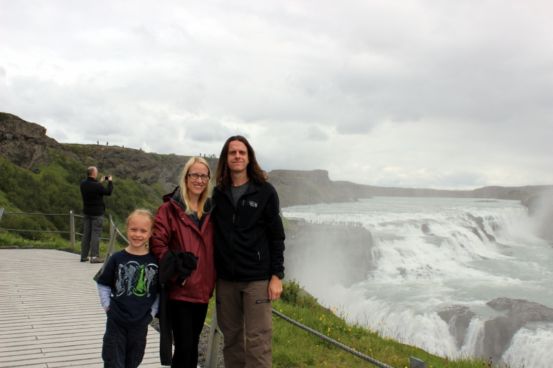 Toren, Debi, and Ryan at Gulfoss