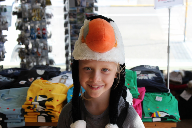 puffin hat in a souvenir shop