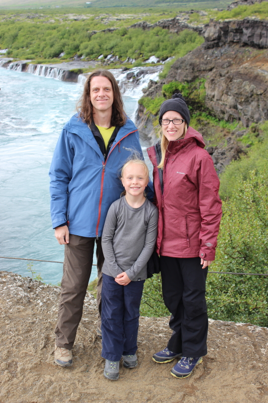 Ryan, Toren, and Debi in front of Hraunfossar