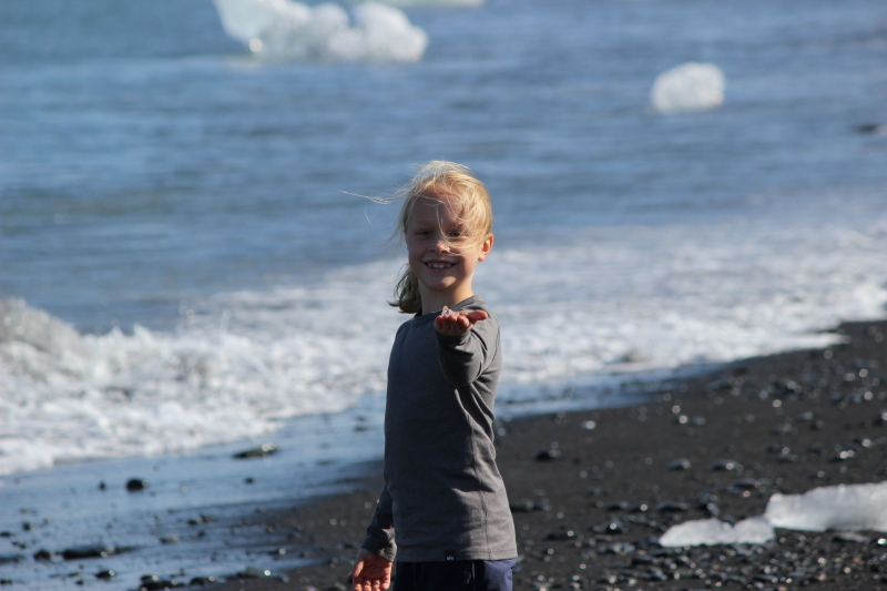 Toren at the beach by Jokulsarlon Lagoon