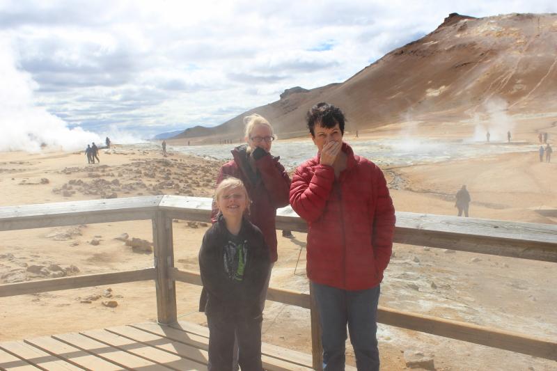 Toren, Debi, and Rosemary at Namajfell Hverir