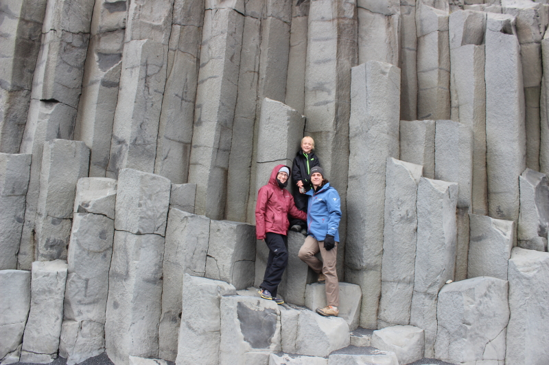 Debi, Toren, and Ryan on some of the rock formations at Reynisfjara