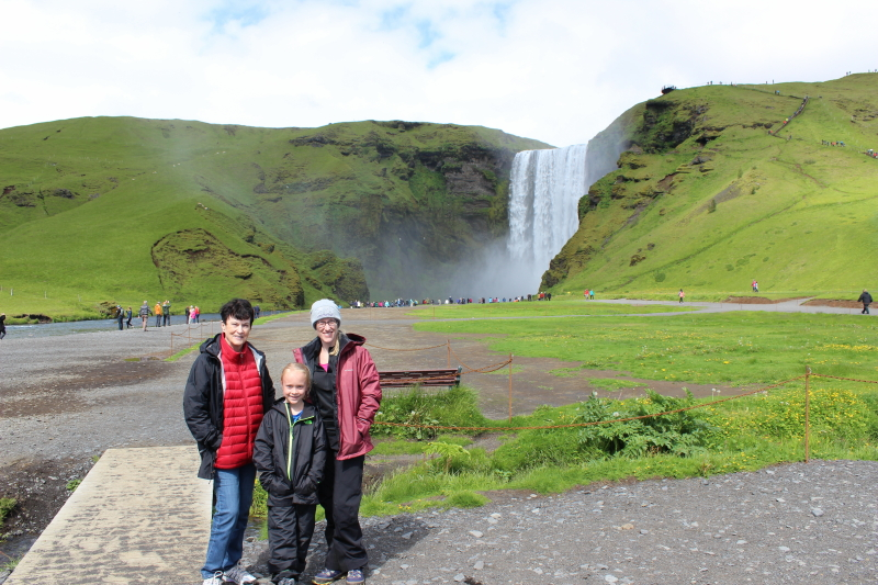 Rosemary, Toren, and Debi at Skogafoss