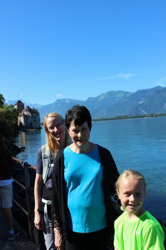Debi, Rosemary, and Toren at Chillon Castle.