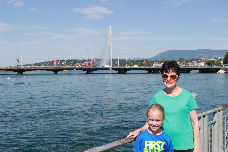 Toren and Rosemary at the Jet d'Eau in Geneva.