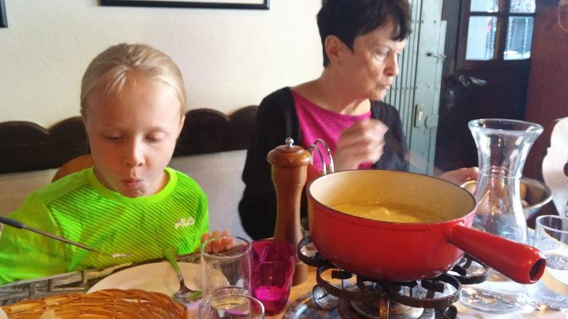 Toren and Rosemary enjoying Swiss fondue in Zermatt.