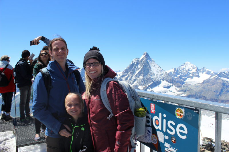 The three of us on the viewing platform on top of Matterhorn Glacier Paradise.