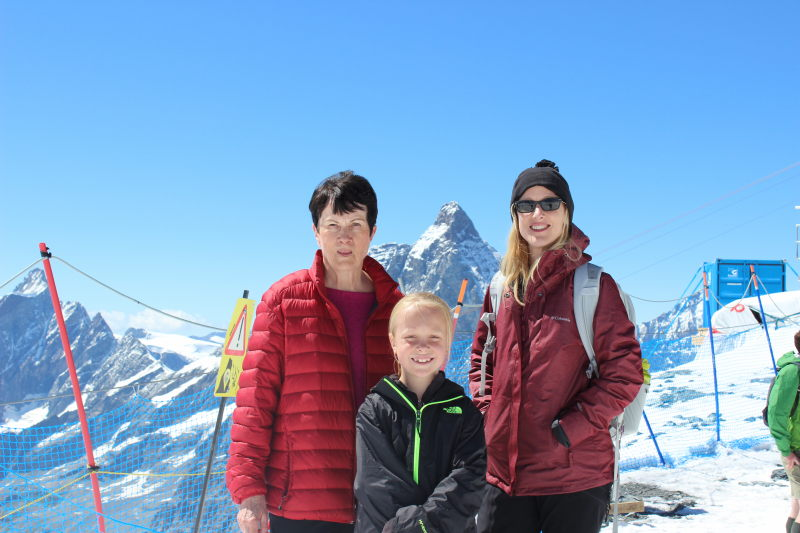 Rosemary, Toren, and Debi on the glacier with the Matterhorn in the background.