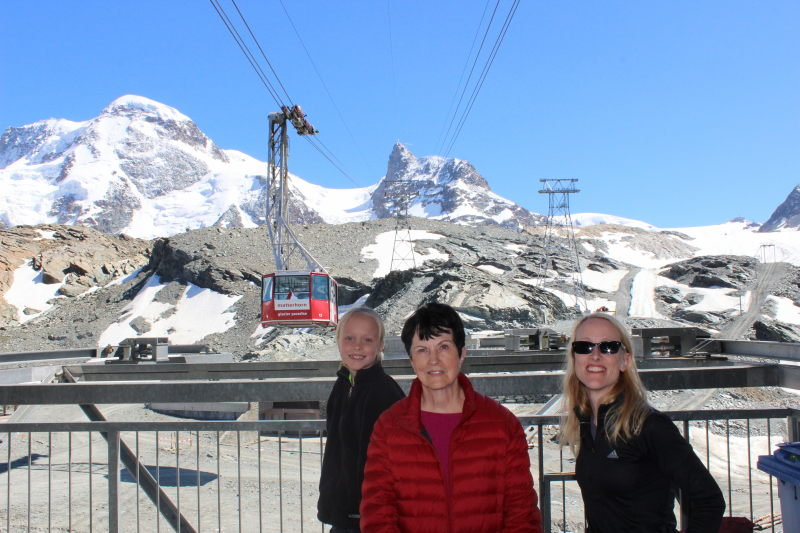 Toren, Rosemary, and Debi in front of the Matterhorn Glacier Paradise.
