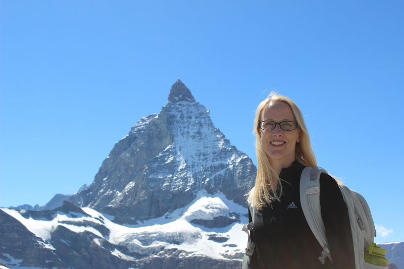 Debi in front of the Matterhorn.